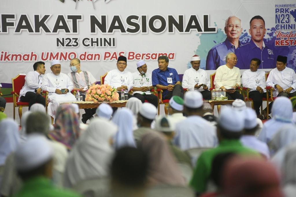 Pemimpin-pemimpin Muafakat Nasional ketika berkempen di PRK DUN Chini, minggu lalu.