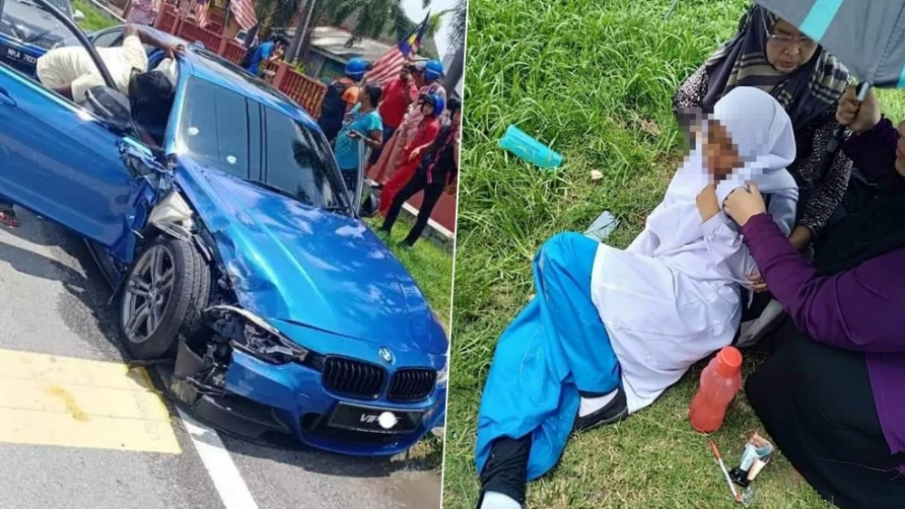 Tiga pelajar cedera selepas dirempuh kereta mangsa tembak dalam kejadian di Banting, Selangor, hari ini. - Sumber Facebook