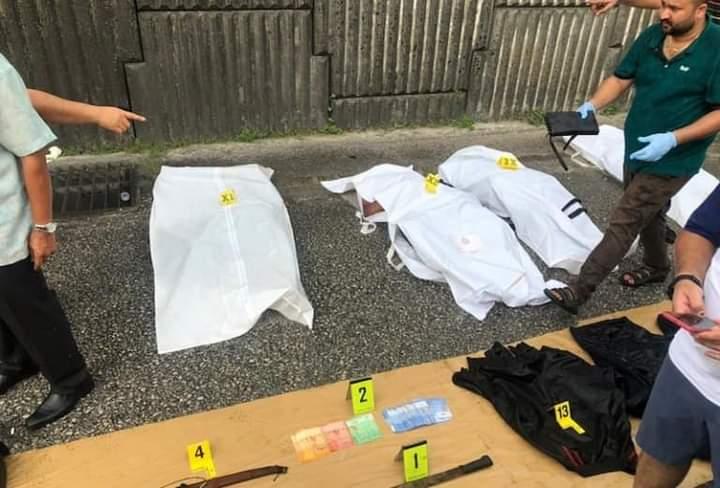 Kesemua suspek samun mati di tempat kejadian akibat ditembak polis. Foto FACEBOOK
