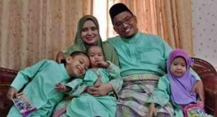 Allahyarham Dr Ali Noor Hassan bersama isteri, Asilah dan anak-anak mereka. - Sumber FB